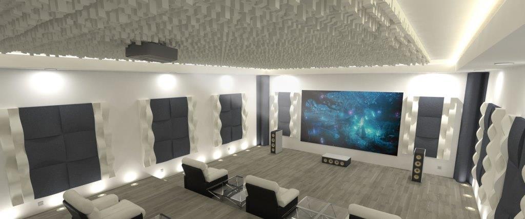 חדר אקוסטי עם פאנלים בולעים על הקירות ופיזור בתקרה